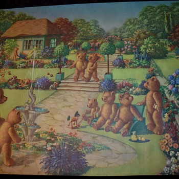 Very large R. Garforth Teddy Bear Picnic Print - Posters and Prints