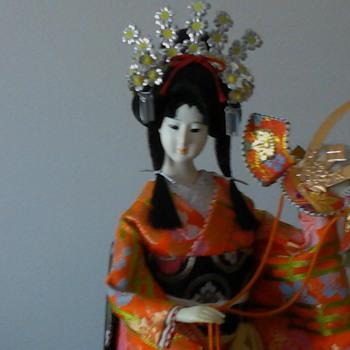 Yaegaki Hime orange kimono with red kabuto - Dolls