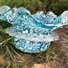 Victorian glass dish with rigaree & frit/spatter decor