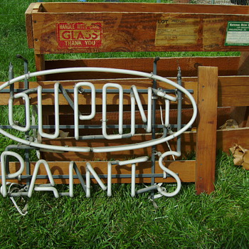 DuPont Paints Neon Sign in Original Packing Crate - 2nd Owner - Signs