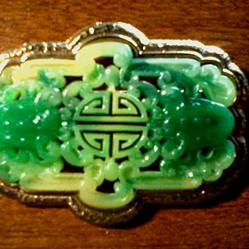 "Large ""Vendome""- Coro 3"" Faux Jade Brooch / Circa 1950's-60's - Costume Jewelry"