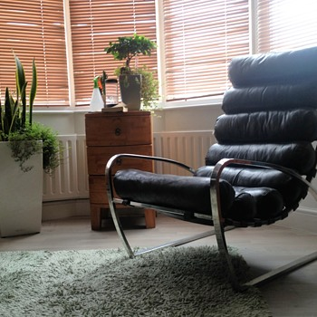 Leather Steel Lounge chair 1950s?