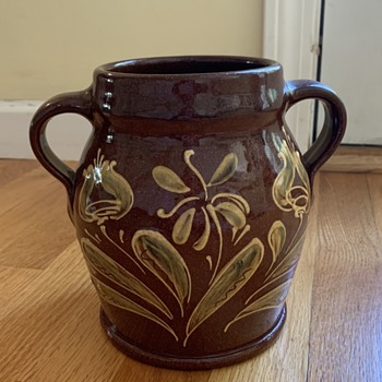 RUS Pottery Redware 2 handled jug - Pottery