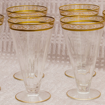 Vintage Gold Rimmed Parfait Glasses - Anyone know about these? - Glassware