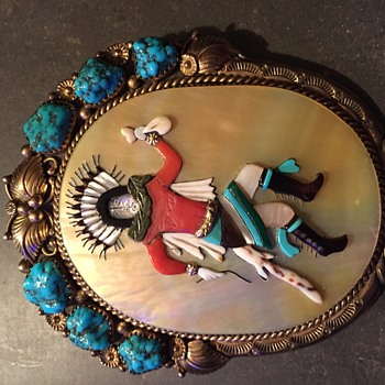 14kt Turquoise Signed Navajo Bolo Tie  - Native American