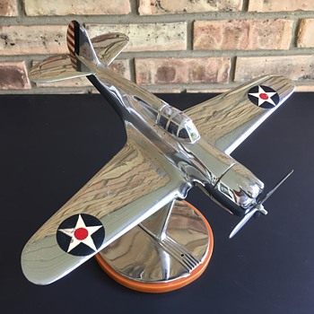 VERY RARE Original Curtiss-Wright Propellers Cast Metal and Chrome P-36A Factory Model - Advertising
