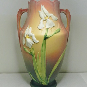 "Huge 15"" Roseville Pink Iris Pillow Vase - 1930's - Pottery"