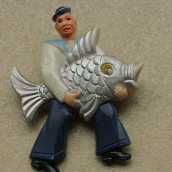 Fisherman and sunning lady brooches - Costume Jewelry