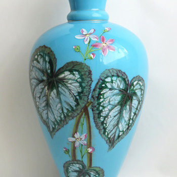 Harrach Blue Enameled Begonia Vase and Catalog Example c. 1887 - Art Glass