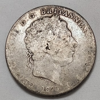 1820 George III silver crown - World Coins