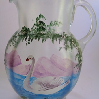 Victorian glass jug with painted decoration of a swan - Art Glass