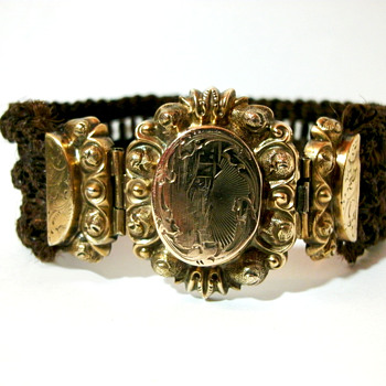Antique Victorian  Braided Hair Work Mourning Bracelet - Fine Jewelry