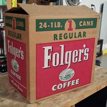 Attic find~ Folgers cardboard box