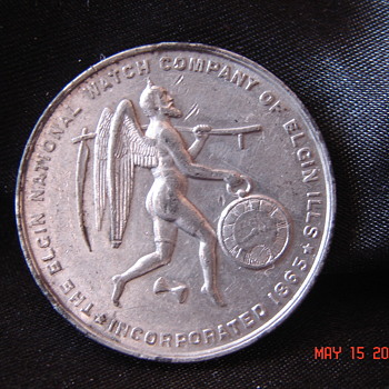 Really Nice 1874 Elgin National Watch Company Chicago Expo Token  - Advertising