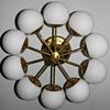 Kaiser Leuchten Radial Sputnik Opal Glass Globes Chandelier, Germany, 1960s