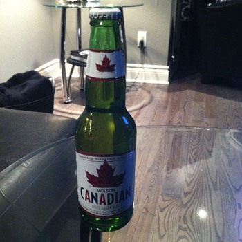 Molson Canadian Beer in a Moosehead bottle