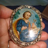 Antique reverse painted glass miniature filigree frame