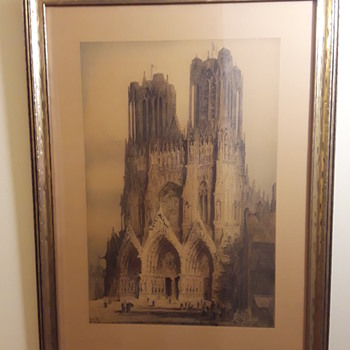 "another old framed print, ""exterior of Rheims [France] Cathedral"" by J. Alphege Brewer (1914)  - Posters and Prints"