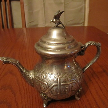 Sterling ?? Silverplate Teapot Serpent Spout, Winged Bird Topper - Silver