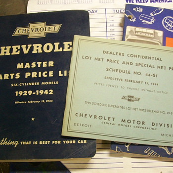 1940's Chevrolet Books/paperwork - Classic Cars