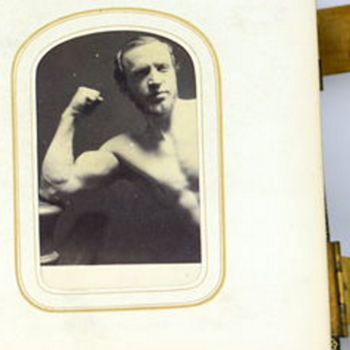CDV of bare chested man flexing his arm - Photographs