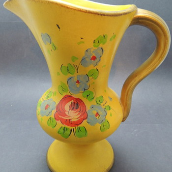 Yellow & Florar Water Pitcher - Pottery