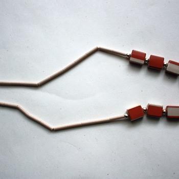 Ceramic necklace, might be deco - Costume Jewelry