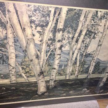 """"""" White birches in vermont """" Luigi lucioni - Fine Art"""