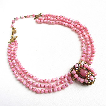 Pink Glass Beaded Vintage Necklace with Ornate Pendant - Costume Jewelry