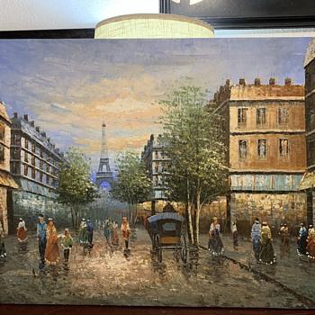 Vintage Cityscape Oil Painting - Fine Art