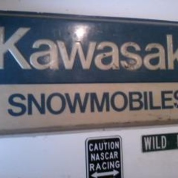 kawasaki snowmobiles dealer sign - Signs