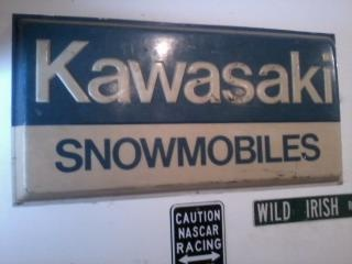kawasaki snowmobiles dealer sign | Collectors Weekly
