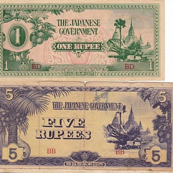 Japanese Rupee Notes Burma WWII - Military and Wartime