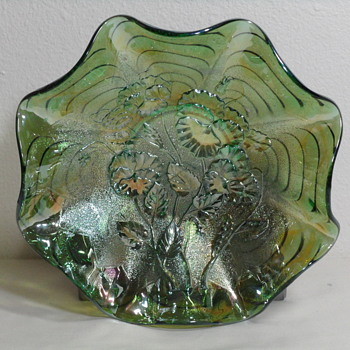 Imperial Glass Pansies Ruffled Bowl in Green - Glassware
