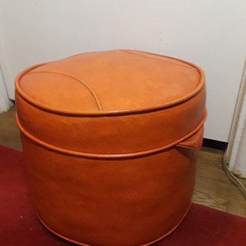 vintage orange vinyl upholstered 'drum ottoman' - Furniture