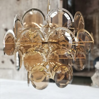 Gino vistosi chandelier in smoked glass and gold plated brass - Lamps