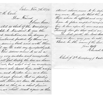 Willian H Cook civil war and death letter 1872 - Photographs