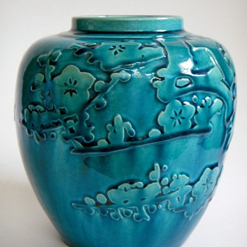 Vintage Japanese pottery vase with relief design - Asian