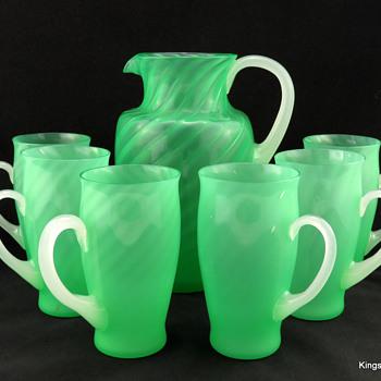 Steuben 6232 Spiral Rib Green Jade Pitcher & Tumblers w Alabaster Handles ca 1925 - Art Glass