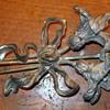Large Art Nouveau Flower metal pin