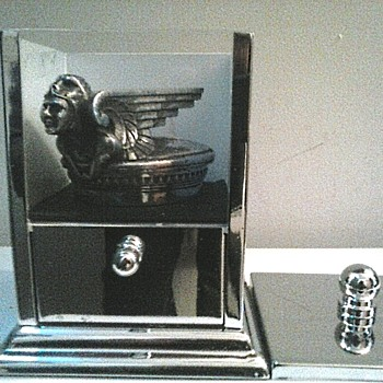 "Chrome Display Case For ""1929-31 Chevrolet ""Viking"" Radiator Cap""/""AKA"" A Cotton Ball And Q-Tip Container/ Circa 20th Century - Classic Cars"