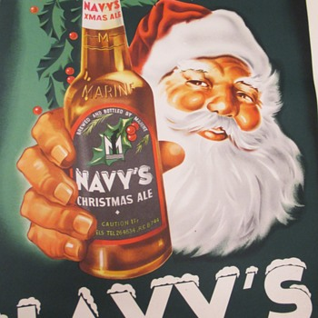 Navy's  Father Christmas Ale Beer poster sign 1954 - Signs