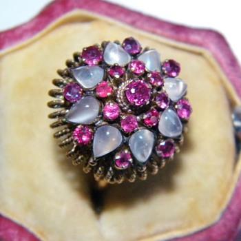 Vintage Deco Moonstone Ruby Thai Princess 18k Rose Gold Ring