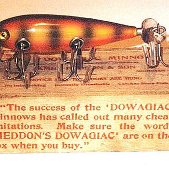Here's my favorite antique vintage fishing lure. It's a James Heddon No. 150 glass eyed lure with it's wooden box. - Fishing