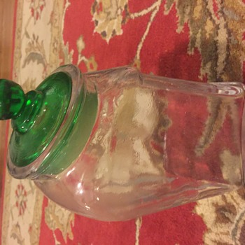 very old clear and green cookie jar candy jar canister