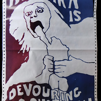 "UC Berkeley iconic ""Amerika Is Devouring Its Children"" May 1970 Urgent Protest Poster - Politics"