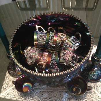 Westmoreland Princess feather Punchbowl and cups