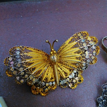 800 Silver Gilded Filigree Butterfly Brooch - Fine Jewelry