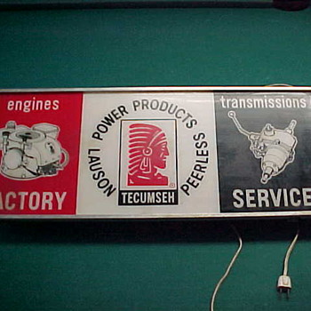 Vintage Lighted Tecumseh Engines Factory Sign - Signs