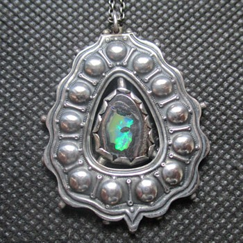 Unusual double-sided A&C Silver pendant with boulder opal  - Arts and Crafts